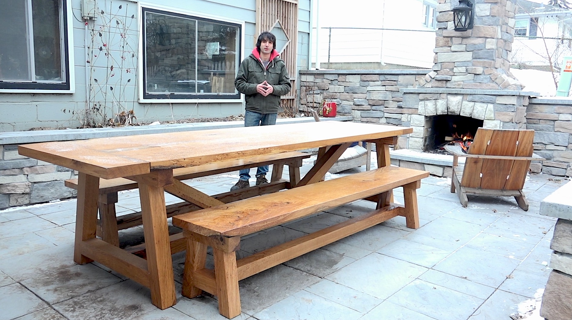 Farmhouse table benches the wood whisperer guild for Farm table woodworking plans